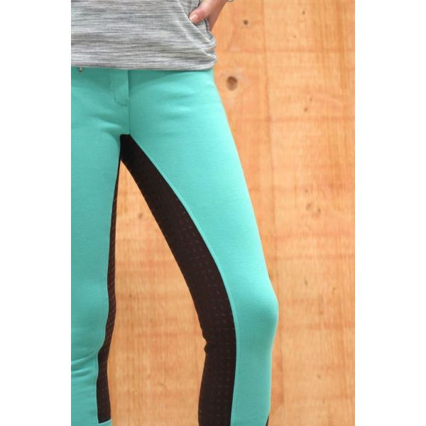 Manski Damen Reithose LOTTA Grip turquoise/darkbrown 40