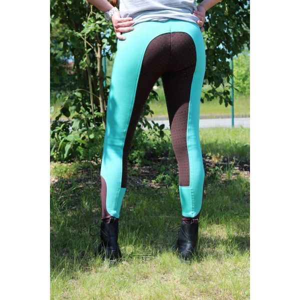 Manski Kinder Reithose LOTTA Grip turquoise/darkbrown 170
